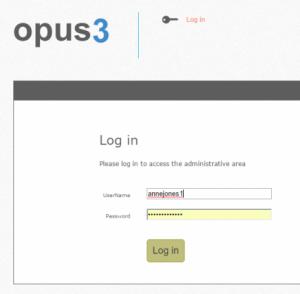 OpusMap log in page